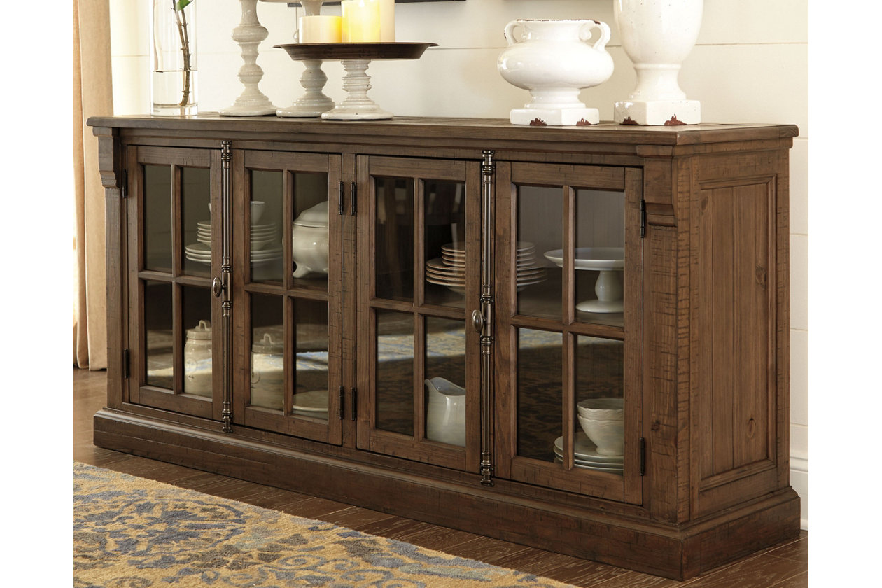 Ashley Furniture Buffet Server Sideboard With Glass Doors