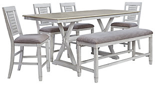 Teganville Counter Height Dining Table and 4 Barstools and Bench, , large