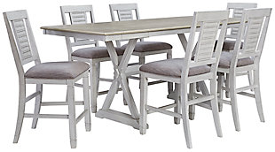 Teganville Counter Height Dining Table and 6 Barstools, , large