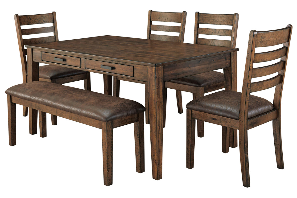 Royard Dining Table And 4 Chairs And Bench Set Ashley Furniture Homestore