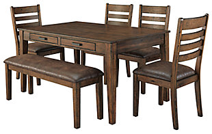 Royard Dining Table and 4 Chairs and Bench, , large
