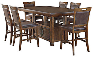 Royard Counter Height Dining Table and 6 Barstools, , large