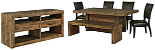 Sommerford Dining Table and 4 Chairs and Bench with Storage, , large