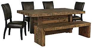 Sommerford Dining Table and 4 Chairs and Bench, , large
