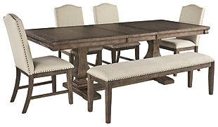 Johnelle Dining Table and 4 Chairs and Bench, , large