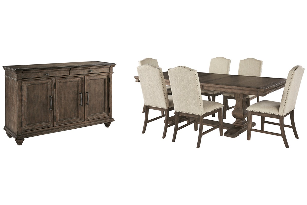 Johnelle Dining Table And 6 Chairs With Storage Set Ashley Furniture Homestore