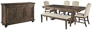 Johnelle Dining Table and 4 Chairs and Bench with Storage, , large