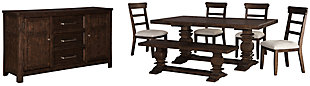 Hillcott Dining Table and 4 Chairs and Bench with Storage, , large