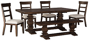 Hillcott Dining Table and 4 Chairs and Bench, , large