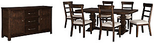 Hillcott Dining Table and 6 Chairs with Storage, , large