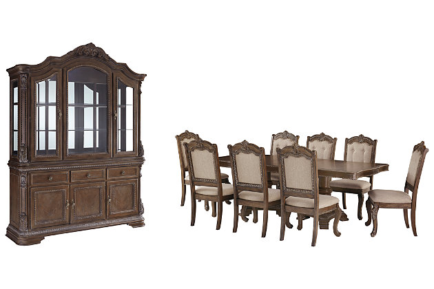 Charmond Dining Table And 8 Chairs With Storage Set Ashley Furniture Homestore