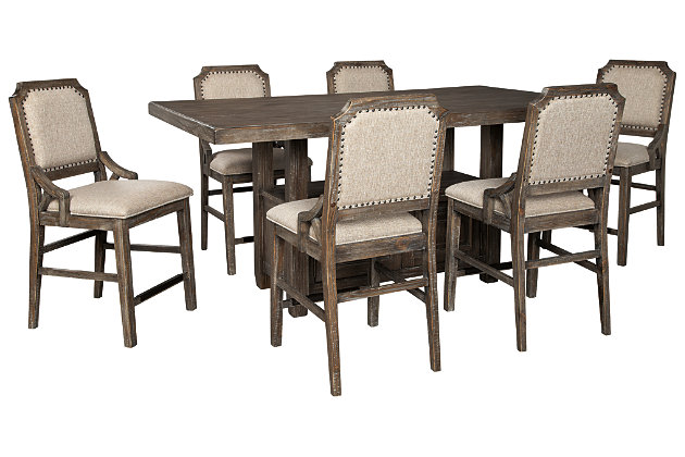 Wyndahl Counter Height Dining Table and 6 Barstools, , large