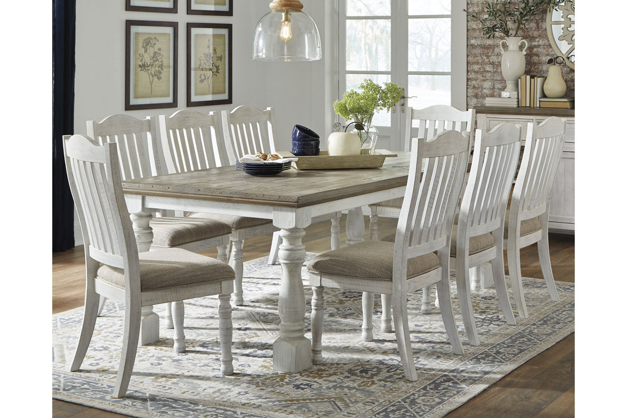 Havalance Dining Table And 8 Chairs Set, White Dining Room Table Seats 8