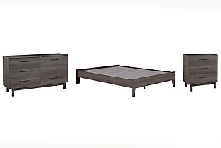 Brymont Queen Platform Bed with Dresser and Chest, Dark Gray, large