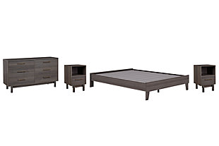 Brymont Queen Platform Bed with Dresser and 2 Nightstands, Dark Gray, large