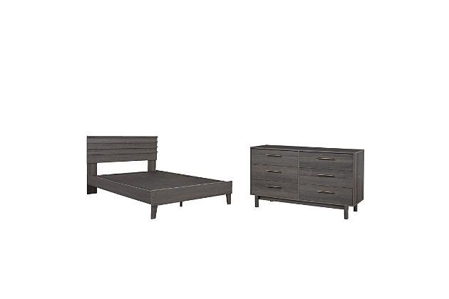 Brymont Queen Platform Bed with Dresser, Dark Gray, large