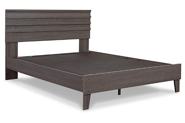Brymont Queen Panel Platform Bed, Dark Gray, large