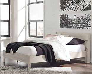 Socalle Queen Panel Platform Bed, Natural, rollover