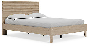 Oliah Queen Panel Platform Bed, Natural, large