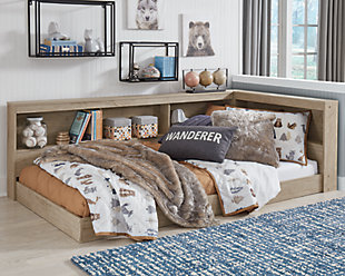 Oliah Twin Bookcase Storage Bed, Natural, rollover