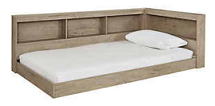 Oliah Twin Bookcase Storage Bed, Natural, large