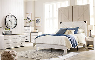 Shawburn Queen Platform Bed with Dresser and 2 Nightstands, White/Dark Charcoal Gray, rollover