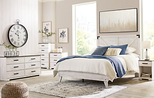 Shawburn Queen Platform Bed with Dresser and Chest, White/Dark Charcoal Gray, rollover