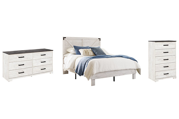 Shawburn Queen Platform Bed with Dresser and Chest, White/Dark Charcoal Gray, large