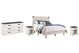 Shawburn Queen Platform Bed with Dresser and 2 Nightstands, White/Dark Charcoal Gray, large
