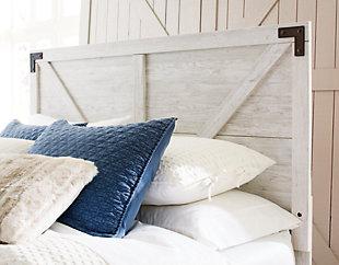 Shawburn Queen Panel Platform Bed, White/Dark Charcoal Gray, large