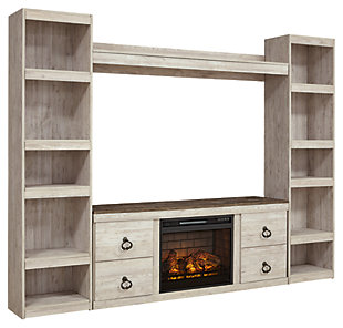 Willowton 4-Piece Entertainment Center with Electric Fireplace, , large