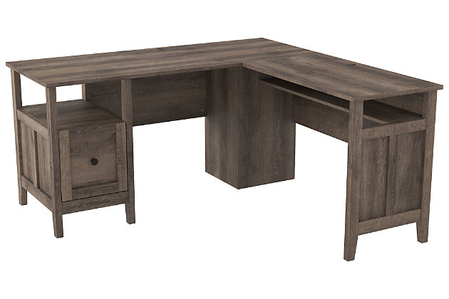 Arlenbry 2 Piece L Shaped Home Office, Ashley Furniture Armoire Desk