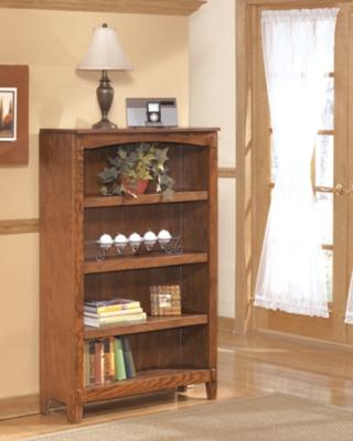 "Ashley Cross Island 53"" Bookcase, Medium Brown"