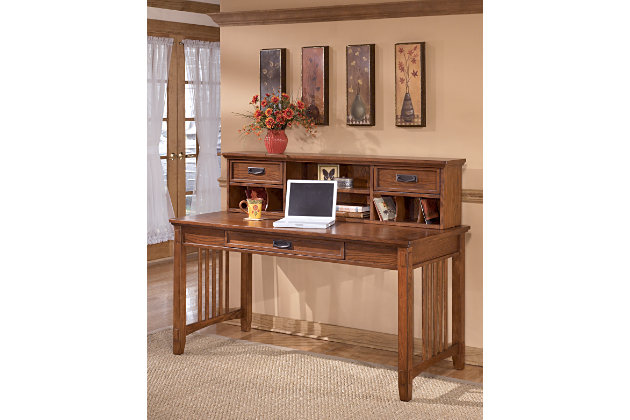 Cross Island 2-Piece Home Office Large Desk with Low Hutch, , large