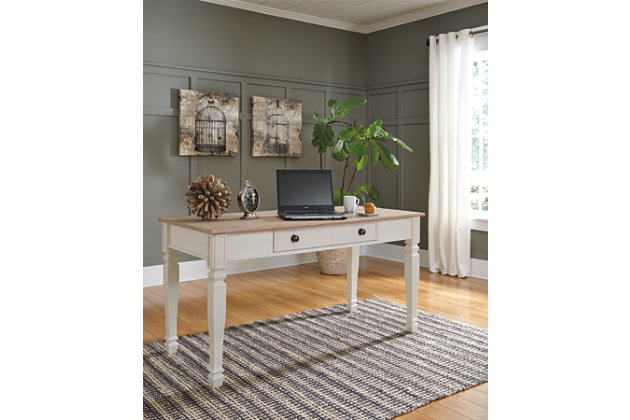 Sarvanny Two Tone White Wood Office Desk
