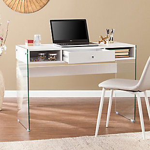 Brenna Writing Desk with Glass Legs, , large