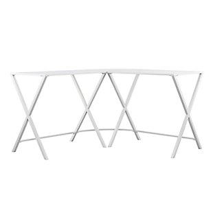 Rolando Metal L-Shape Corner Desk with Glass Top, , large