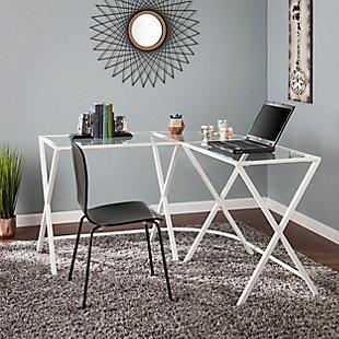 Rolando Metal L-Shape Corner Desk with Glass Top, , rollover