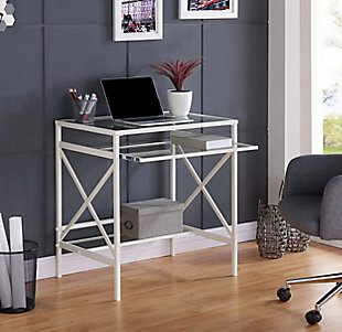 Pennie Metal/Glass Small-Space Desk, , rollover