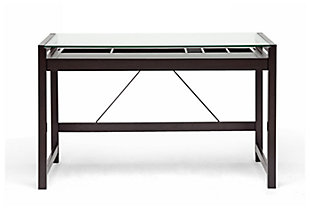 Idabel Modern Desk with Glass Top, , large
