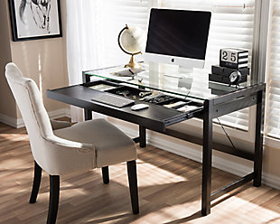 Idabel Modern Desk with Glass Top, , rollover