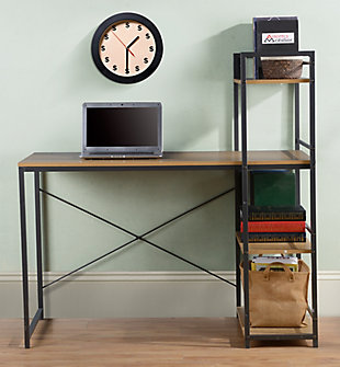 Writing Desk with Four-Shelf Bookcase, , rollover