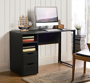 Writing Pedestal Desk with Two Drawers, , rollover