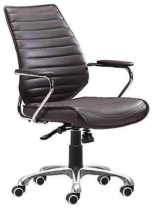 Panel Tufted Enterprise Low Back Home Office Chair, , large