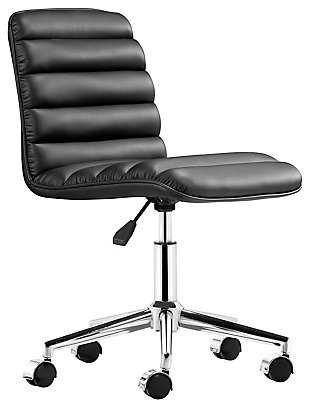 Ribbed Panel Home Office Chair Black, , large