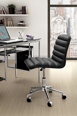 Ribbed Panel Home Office Chair Black, , rollover