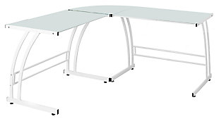 Corner Desk with Frosted Glass and Metal Frame, , large