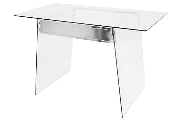 Glass Home Office Desk with Metal Accents, , large