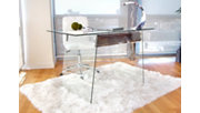 Glass Home Office Desk with Metal Accents, , rollover