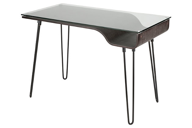 Glass Top Home Office Desk, Charcoal/Clear/Black, large